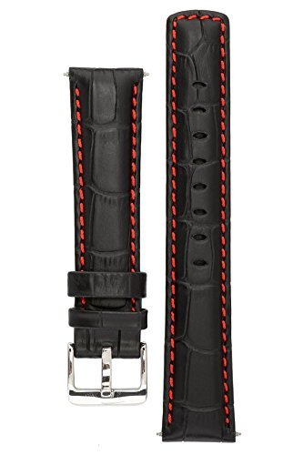 Signature Freedom watch band. Replacement watch strap. Genuine leather. Silver Buckle ( Nero con il rosso, 22 mm - extra-lungo)