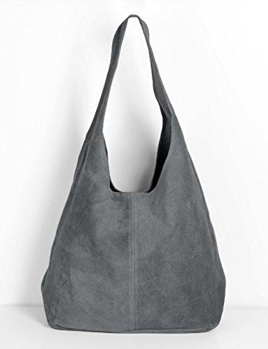 Ledertasche grau Lederhandtasche Tasche Shopper Wildleder Handtaschen Schultertaschen Beuteltasche Leder DIN-A4 20-gry Grau
