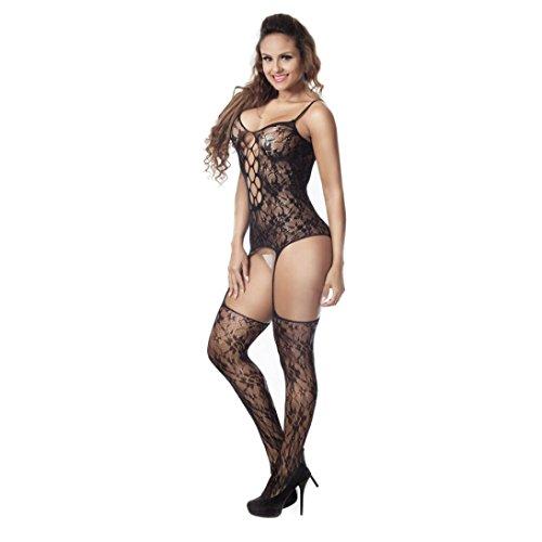 Dessous Damen Xinan Fischnetz Sheer Open Schritt Body Stocking Unterwäsche (Sheer Bodystocking Sexy)
