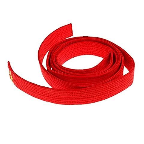 8 Couleurs Ceinture Taekwondo Arts Martiaux en Polyester-Coton Surpiquée Multiples Rangées Couture Super Epaisse Robuste - rouge, 250cm