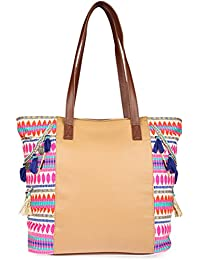 Desi Drama Queen Faux Leather Handloom Fabric With Hand Embroidery Beige Tote Neckpiece