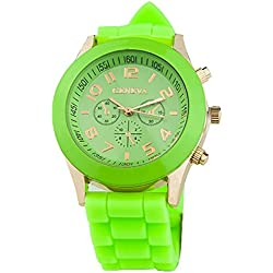 TOOGOO(R) Unisex Silicone Jelly Gel Quartz Analog Sports Wrist Watch Light Green