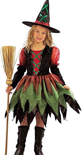 Bunte Hexe - Hexenkostüm Halloween für Mädchen - komplettes Hexe-Kostüm inkl. Hut (110/116)