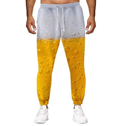 Yearnly Herren Hosen Lang, 2019 Bier 3D Druck Leichte und Atmungsaktive Laufhose für Herren, Komfortable Sporthose mit Loser Passform (Vault Anzug Kostüm)