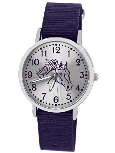 Pacific Time Mädchen Uhr Pferde analog Quarz mit Textil Wechselarmband violett 10302