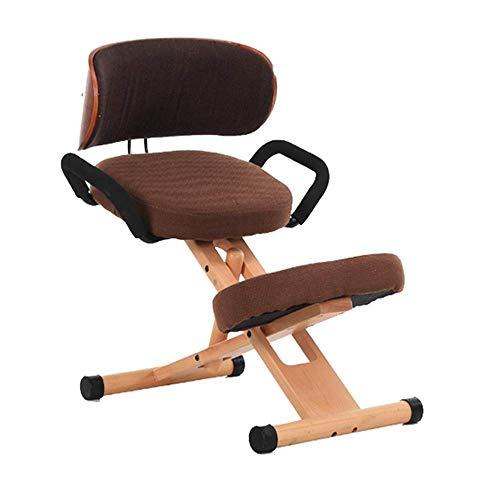 Sedia regolabile ergonomica,lavoro sgabello cuscino ufficio casa-legno e cuscino di lino -ideale per collo, colonna vertebrale,problemi alla schiena - caffè