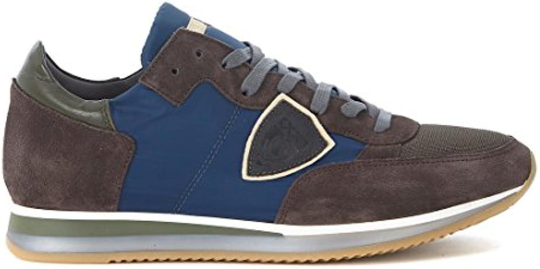 Sneaker Philippe Model Tropez en Suede Marrón y Tejido Azul -