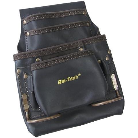 Am-Tech - Bolsa con varios bolsillos para herramientas (piel)