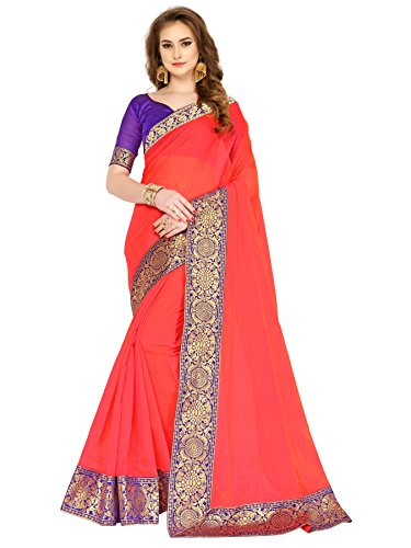 Art Décor Women\'s Chanderi Cotton Banarasi Silk Border Peach Saree With Blouse