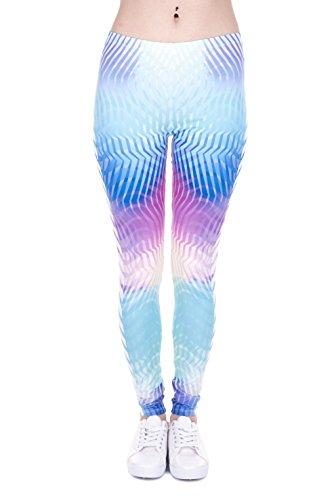Bunte Damen Leggings OneSize XS-XL Mädchen Leggins mit verschiedenen Muster bedruckt   Tights Pants mit hohem Hüft-bund auch als Sport-Hose Zumba-Hose Yoga-Hose Freizeit-Hose (White Arrows Holo)