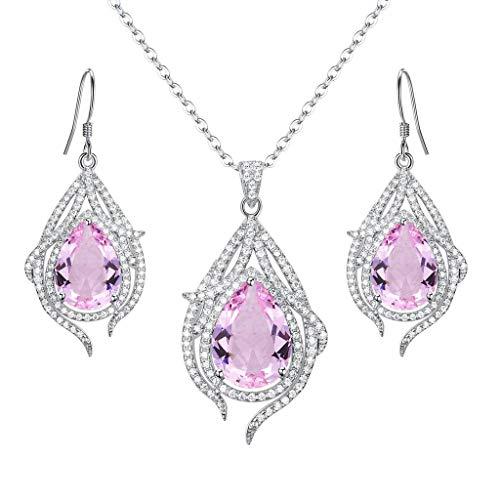 terling Silber Hochzeit Braut Cubic Zirconia Pfau Feder Tropfen Anhänger Halskette Hook Ohrhänger Ohrringe Schmuck Set Pink Turmalin Farbe ()