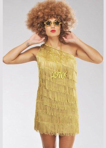 Delights Ladies 70s Gold Fringe Disco Diva Costume (XL (UK 18-20))