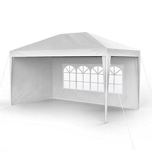 Sekey 3x 4m gazebo da giardino impermeabile/tenda da giardino gazebo da giardino/regolabile/gambe, per giardino/festa/matrimonio/picnic, uv30+, pareti laterali, bianco