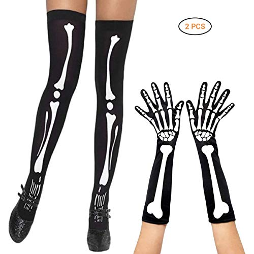 Mallalah Skeleton Printing Long Arm Guantes Dedo Completo