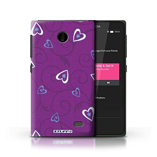 Kobalt® Imprimé Etui / Coque pour Nokia X / Turquoise/Bleu conception / Série Coeur Vigne Motif Violet/Bleu