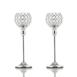VINCIGANT Kristall Kerzenständer Silber 2er Set für Weihnachtsdeko Dekoration Halloween Deko Wohnung Modern, 2er Set 33cm Höhe