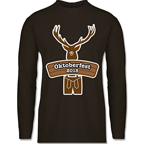 Shirtracer Oktoberfest Herren - Hirsch in Tracht Oktoberfest 2018 - Herren Langarmshirt Braun