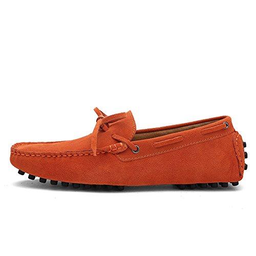 Z.L.F Herren Oxford Schuhe Driving Penny Loafers Echtes Leder Boot Mokassins Gummi Studs Sohle Schuhe (Color : Orange, Größe : 7 MUS) -