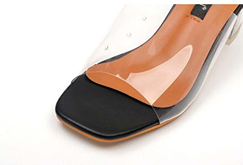 Onfly Maultiere Transparent Chunky Ferse Hausschuhe Damen Einfach Quadratische Zehe Glas Kristall Sandalen Black