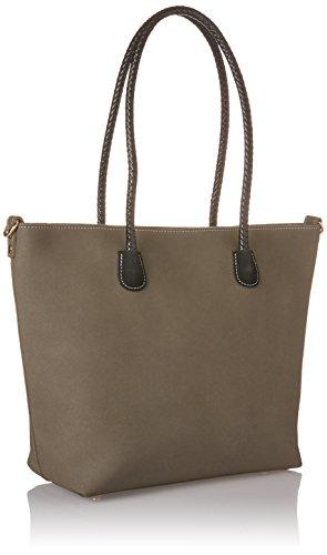 Damen Handtasche in grau | schlichter Shopper mit Anhänger | auch als Umhängetasche tragbar Maja