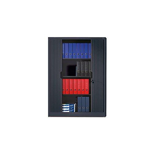 CP Rollladenschrank mit Horizontal-Jalousie - HxBxT 1660 x 1200 x 420 mm, 3 Fachböden, 4 Ordnerhöhen - schwarzgrau - Aktenschrank Beistellschrank Büroschrank Sideboard Hängeregistratur Mehrzweckschrank Stahlbüroschrank Stahlschrank Universalschrank