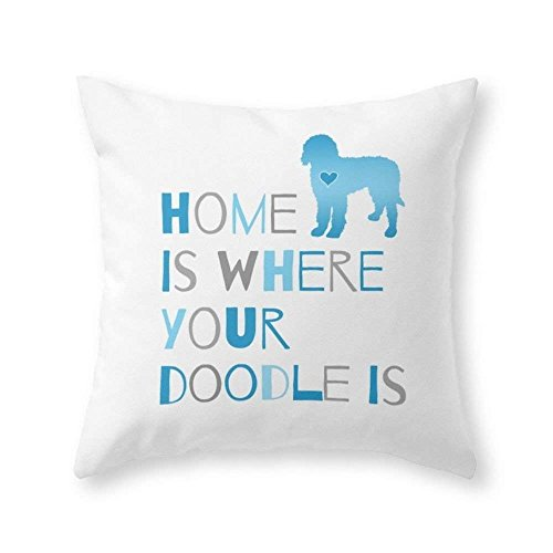 xiangwangdeli Home is Where Your Doodle is, Art for The Labradoodle Or Goldendoodle Dog Lover Throw Pillow Indoor Cover (18