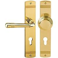 Süd-Metall 32704520 Türbeschlag Scarlet-Langschild Messing poliert für Wohnungseingangstüren DIN Links Türgriff