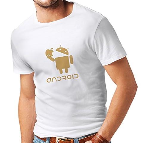 N4067 Männer T-Shirt Android Unisex T-Shirt (Medium Weiß Gold)