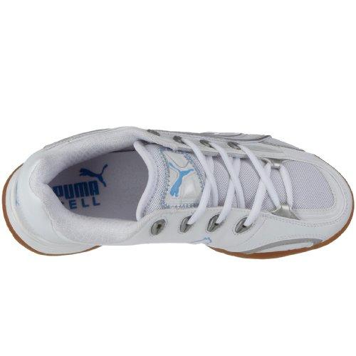 Puma Vibrant V Wn's 184081 03, Damen Sportschuhe - Indoor Weiss (White-Pumasilver-Teampearlblue03)