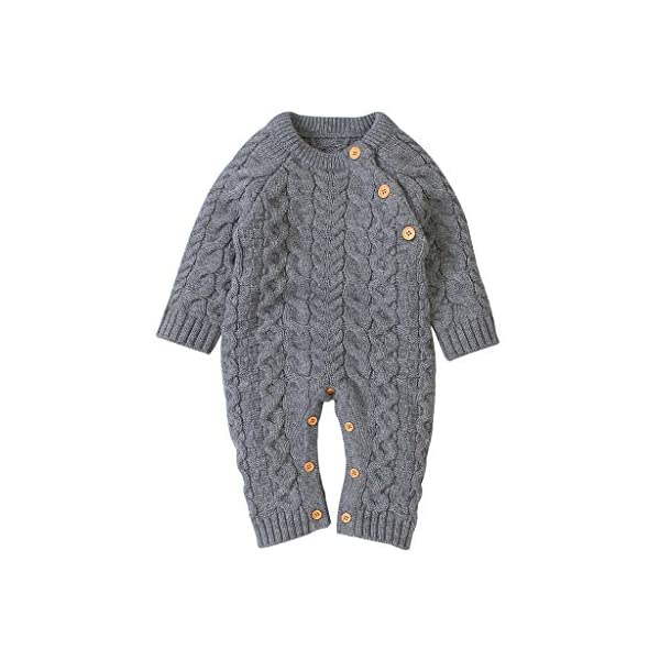 Mameluco de Punto de Invierno para bebé,Bebé recién Nacido niño niña Invierno Color sólido botón suéter Mono de Punto… 1