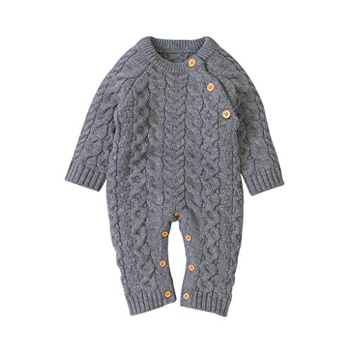 Livoral Neugeborenes Baby Mädchen Winter Knopf Pullover Strickoverall Strampler Warme Outfits(Grau,3-6 Monate)