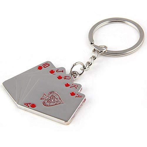 Persönlichkeit Royal Flush Poker Spielkarte Schlüsselanhänger Metall Geschenke Schlüsselanhänger Charme Schmuck for Frauen Männer Autozubehör (Color : Red, Size : 42 * 52 * 95mm) -