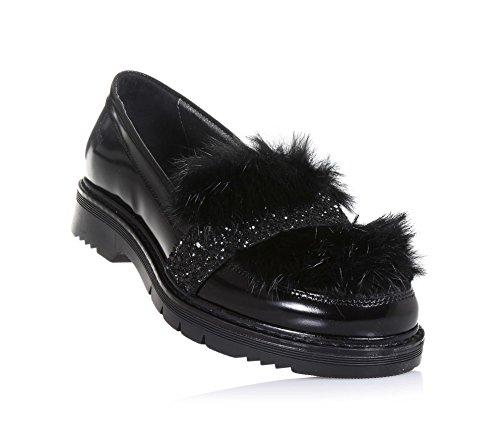 Miss Grant MISS GRANT - Schwarzer Mokassin aus Glanzleder, made in Italy, eleganter und glamouröser Stil, Mädchen, Damen-35