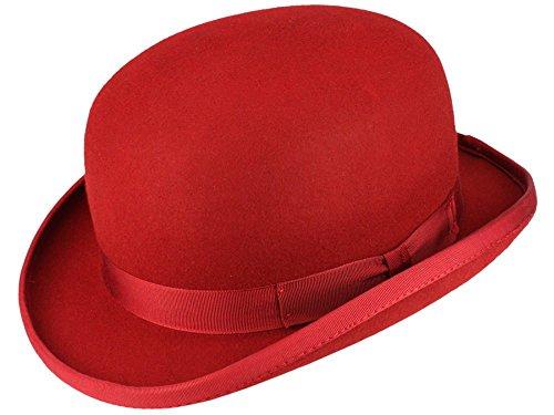 Christys' Fashion Bowler Wollfilz Melone Bowler Filzhut - red L/58-59 (Rot Wollfilz-hut Satin)