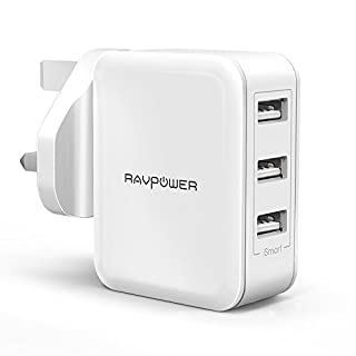 Wall Charger, RAVPower 30W Fast Chargers 6A 3-Port Mains USB Charger Plug Power Adapters with iSmart 2.0 for iPhone XS/XR/XS Max/8/8 Plus, Galaxy, iPad and More – White