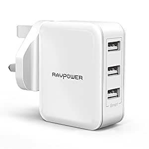 USB Charger Plug RAVPower 30W Fast Chargers 6A 3-Port Mains Wall Charger Power Adapters with iSmart 2.0 for iPhone 8/8 Plus/X/7/6/6 Plus, iPad, Galaxy and More – White