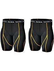Tesla hommes de sport de Performance de compression pour homme S07(Noir/Orange à rayures, nous S–XS)