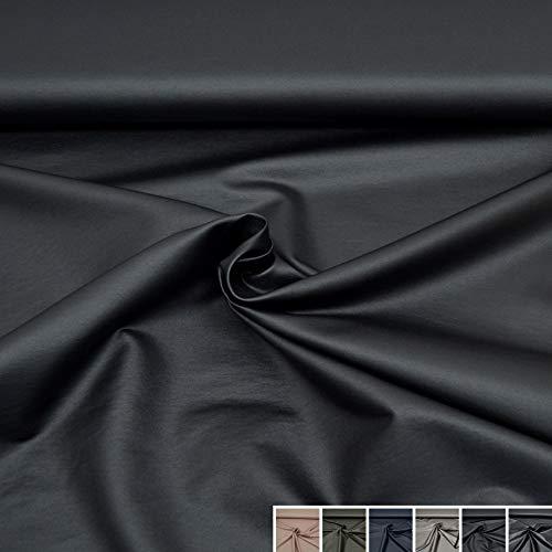 Leder-wasserdichte Jersey (MAGAM-Stoffe Mira Hosenstoff beschichtet Lederlook Stoff Meterware 50cm (5. Schwarz))