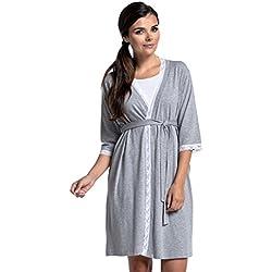 Zeta Ville - Premamá Camisón/Bata / Pijama Mezcla Y COMBINA - para Mujer 591c (Bata - Mezcla Gris Claro, EU 38, M)