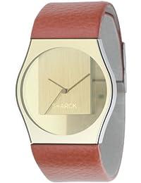 Philippe Starck Philip Starck - Reloj analógico de cuarzo para mujer con correa de piel, color marrón
