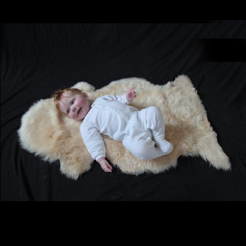 The Wool Company Soft Natural Length Sheepskin | Perfect Sheepskin for Your Baby | Soft & Comforting | 100% Natural & Chemical Free