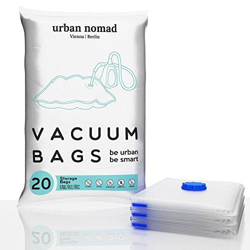 Vakuumbeutel Set - 20 Premium Vakuum Aufbewahrungsbeutel - Vakuumierbeutel in 3 Größen für Staubsauger - Kompressionsbeutel Kleidung, Bettdecken, Bettwäsche, Kissen, Reisen – Vacuum Bags Kleiderbeutel