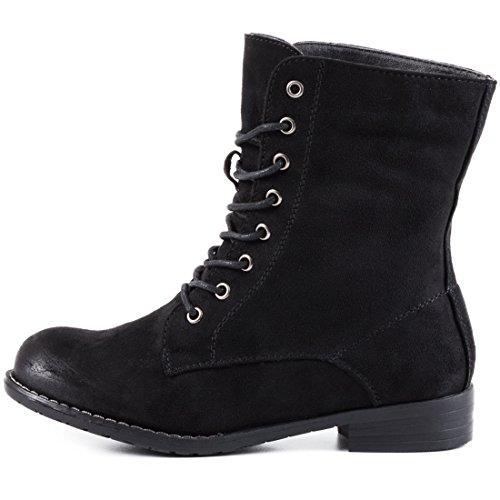 Stylische Wildlederoptik Boots hochwertiger Stiefeletten Schn眉r Lederoptik Basic in Schwarz UFRUZr