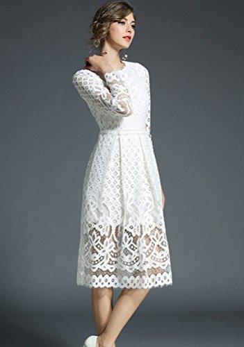YiLianDa Donna Eleganti Vestiti Lunghi Pizzo Vestito Vita Alta Manica Lunga Vintage Abito da Cocktail Sera Bianco
