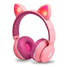 Kids Headphones Wireless Bluetooth Cat Ear Headphones with Flashing Light,SD Card Slot,FM,3.5mm Audio Jack Wired On Ear Headphones for Boys Girls Adults(Rose)