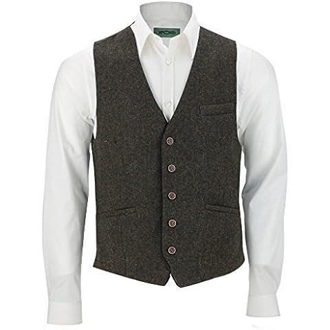 Gilet Vintage con angoli marrone misto lana Tweed A Spina Di Pesce Smart Casual Gilet