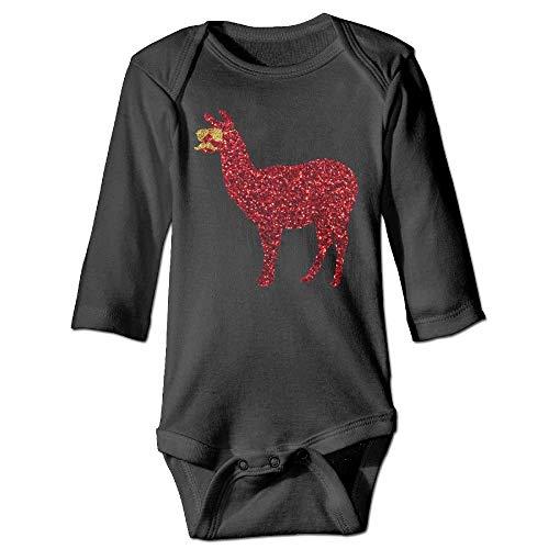 laura fleming Schnurrbart Lama mit Sonnenbrille Glitter Baby Langarm für Unisex Boys Girls 100% Baumwolle