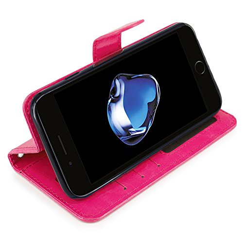 LK per Custodia iPhone 8 Plus / iPhone 7 Plus, Case in Pelle PU di Lusso Portafoglio con Fessure di carta Cover Protettiva - Menta Rosa caldo