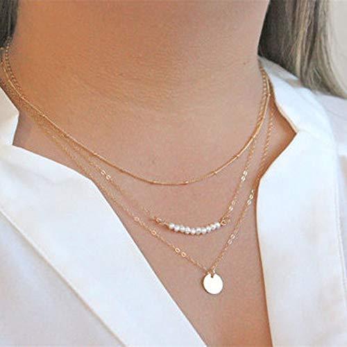 - Layer - Halskette mit Perlen - Pailletten für Frauen und Mädchen ()