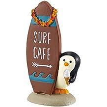 Figura de pingüino con letrero en forma de tabla de surf de Japón